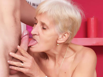 Gray haired older woman Irine slurping a thick cock and taking it into her aged muff